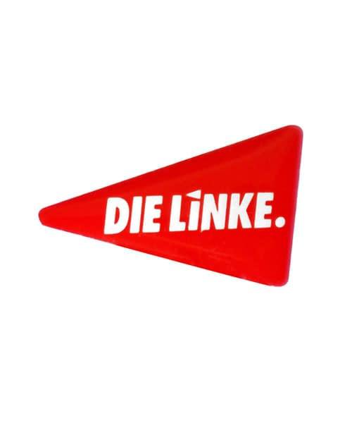 Pin, bedruckt im Siebdruck - Die Linke Vorderseite