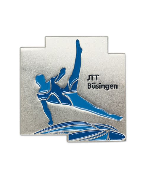 Pin, geprägt in Weichemaille JTT Büsingen Vorderseite